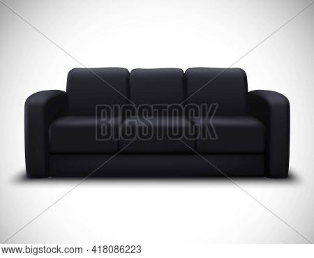 Modern Interior Design Realistic Mockup Poster With Black Leather Sofa For Living Room Furniture Arr