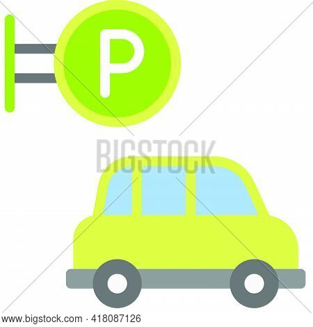 Parking Lot Icon, Supermarket And Shopping Mall Related Vector Illustration