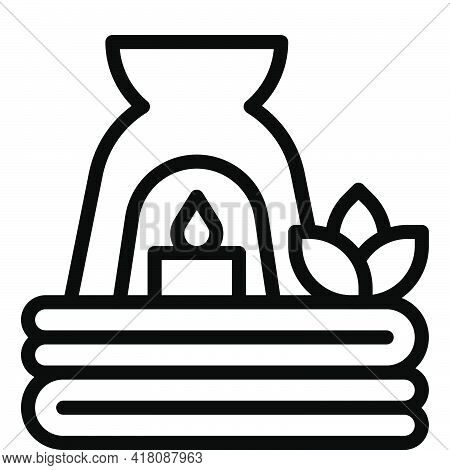 Aroma Lamp And Towel Icon, Supermarket And Shopping Mall Related Vector Illustration