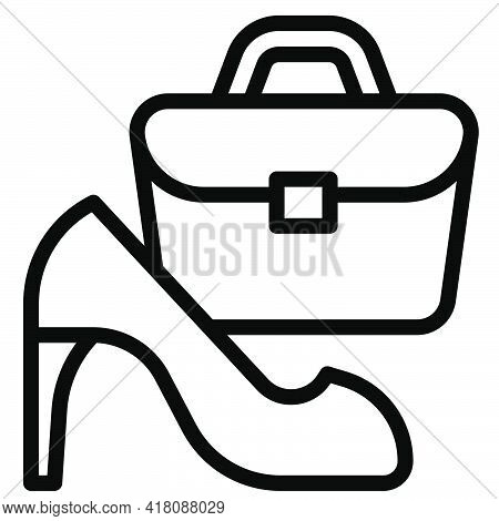 High Heels And Handbag Icon, Supermarket And Shopping Mall Related Vector Illustration