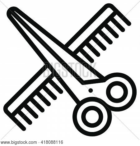 Scissors And Comb Icon, Supermarket And Shopping Mall Related Vector Illustration