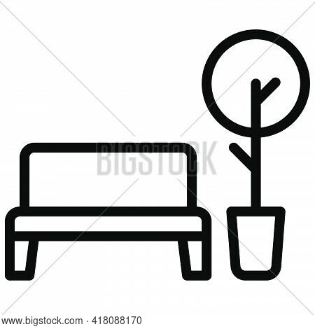 Bench And Tree Icon, Supermarket And Shopping Mall Related Vector Illustration