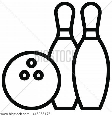 Bowling Ball And Pins Icon, Supermarket And Shopping Mall Related Vector Illustration