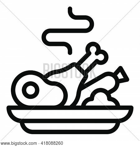 Cooked Food Icon, Supermarket And Shopping Mall Related Vector Illustration
