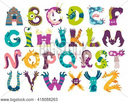 Monster Alphabet From A To Z. Letters Of English Alphabet Shaped As Monsters. Children Colorful Cart
