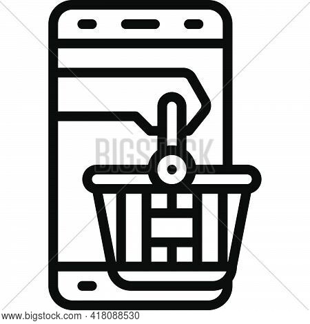 Mobile Shopping Icon, Supermarket And Shopping Mall Related Vector Illustration