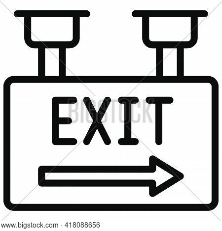 Exit Sign Icon, Supermarket And Shopping Mall Related Vector Illustration