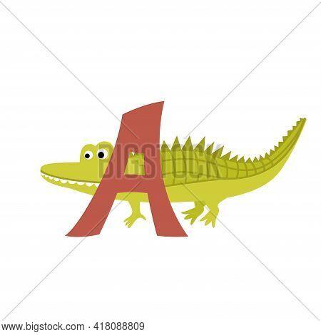 Alligator Animal Alphabet Symbol. English Letter A Isolated On White Background. Funny Hand Drawn St
