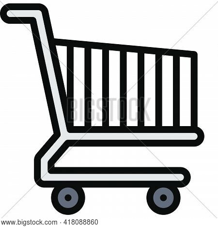 Shopping Cart Icon, Supermarket And Shopping Mall Related Vector Illustration