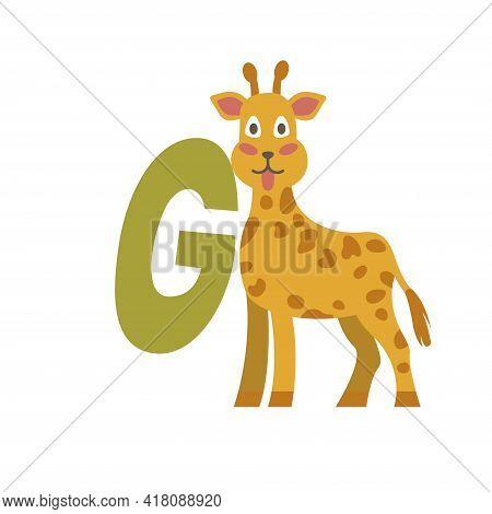 Giraffe Animal Alphabet Symbol. English Letter G Isolated On White Background. Funny Hand Drawn Styl