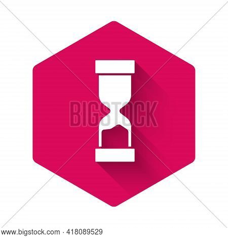White Old Hourglass With Flowing Sand Icon Isolated With Long Shadow. Sand Clock Sign. Business And