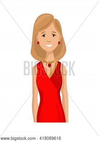 Happy Woman In Exquisite Clothes. Isolated Character On White Background. Business Lifestyle. The Yo