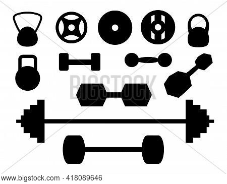 Gym Equipment Collection. Sports Equipment Accessories Set. Vector Monochrome Style Of Designed Elem