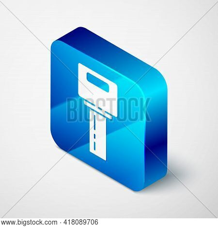 Isometric Car Key With Remote Icon Isolated On Grey Background. Car Key And Alarm System. Blue Squar