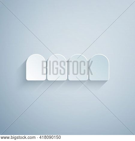 Paper Cut Dentures Model Icon Isolated On Grey Background. Teeth Of The Upper Jaw. Dental Concept. P