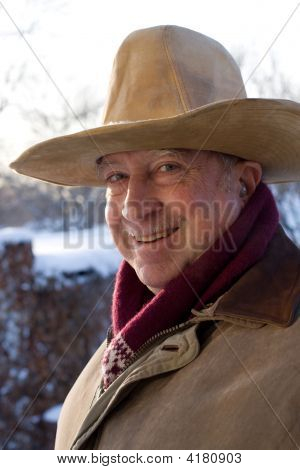 Winter Portrait Of Elderly Gentleman