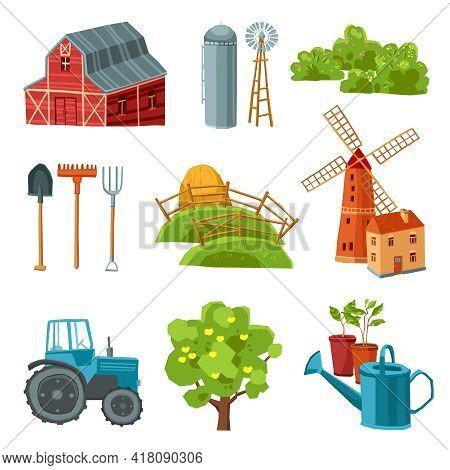 Farm Decorative Multicolored Set With Barn Tractor Windmill Haystack Silo Tower Tree Bushes Watering