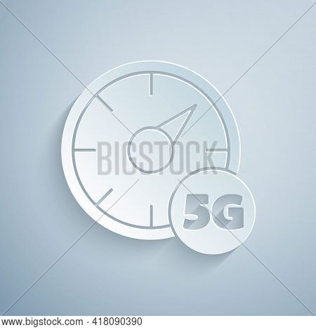 Paper Cut Digital Speed Meter Concept With 5g Icon Isolated On Grey Background. Global Network High