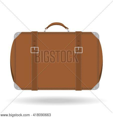 Tourist Suitcase. Vintage Brown Tourist Suitcase Isolated On White Background. Vector, Cartoon Illus