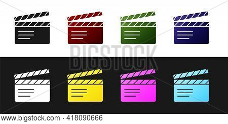 Set Movie Clapper Icon Isolated On Black And White Background. Film Clapper Board. Clapperboard Sign