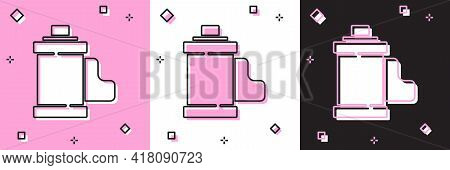 Set Camera Vintage Film Roll Cartridge Icon Isolated On Pink And White, Black Background. 35mm Film