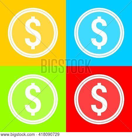 Coin Icon. Set Of Multicolored Coin Icons. Vector, Cartoon Illustration. Vector.