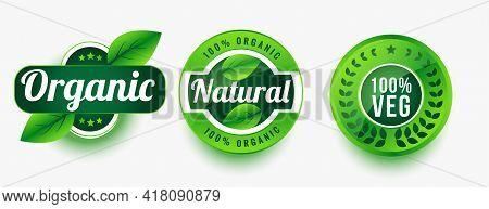 Organic Natural Veg Product Labels Set Design