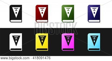 Set 26 November India Constitution Day Icon Isolated On Black And White Background. Vector