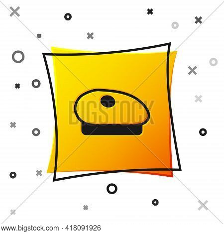 Black French Beret Icon Isolated On White Background. Yellow Square Button. Vector