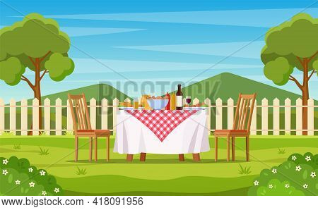 Barbecue Party In The Backyard With Fence, Trees, Bushes. Picnic With Barbecue On Summer Lawn In Par