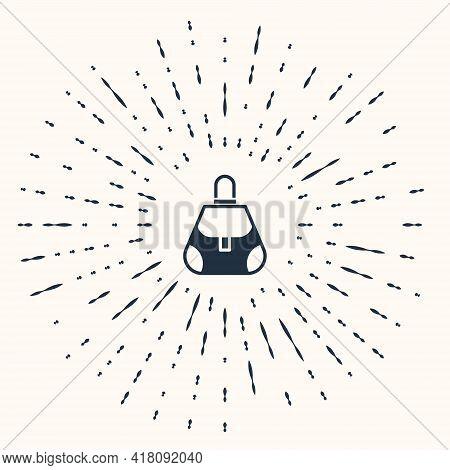 Grey Handbag Icon Isolated On Beige Background. Female Handbag Sign. Glamour Casual Baggage Symbol.