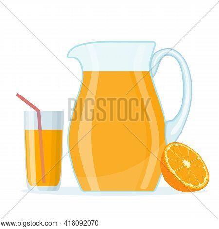 Orange Fruit Juice In Glass Jug And Half Slice Orange. Fresh Citrus Fruit Drink With Vitamins. Organ