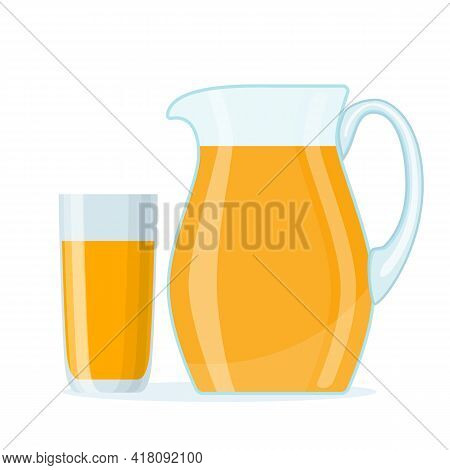 Tasty Orange Juice In Glass And Jug . Cartoon Jug Isolated On White Background. Organic Product In C