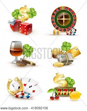 Casino Luck Symbols And Games Attributes 6 Icons Set  With Roulette Wheel Aces Poker Chips Isolated