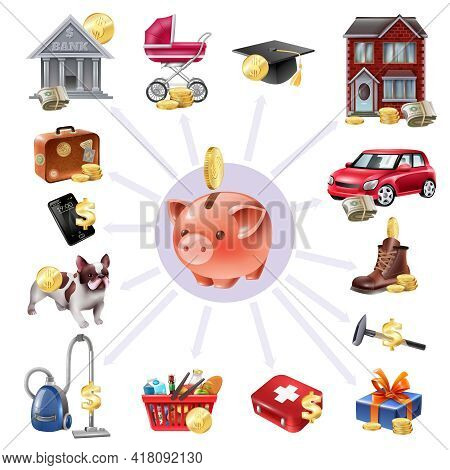 Family Budget Money Box Saving Concept Composition With Payments Outgoing Money Expenses Symbols Rad