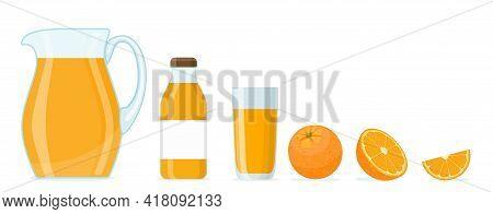 Orange Juice Set Isolated On White Background.. Cartoon Orange Juice In Jar And Glasses With Ripe Fr