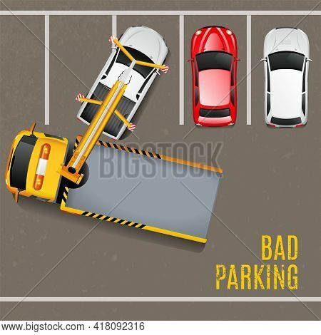 Bad Parking Top View Background. Tow Truck Vector Illustration. Bad Parking Cartoon Design. Tow Truc