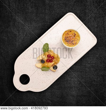 Goose Liver Pate With Caramel Crust. Gourmet Food Concept. Fine Dining