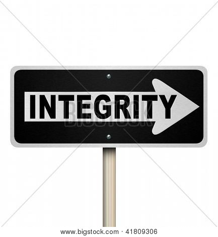 A road or street sign with the word Integrity to illustrate sincereity, believability, reputation, truthfulness, honesty and credibility
