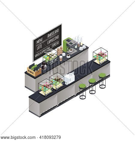 Coffee Bar Stand Isometric Composition With Coffee Brewer Black Board Cups Varieties Box And Sweet C
