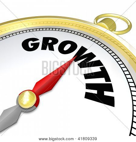 The word Growth on a gold compass symbolizing advancement, increasing, new opportunities in business and life
