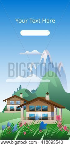 Summer Mountain Landscape With Houses. Image Of An Alpine Chalet On The Background Of A Mountain Lan
