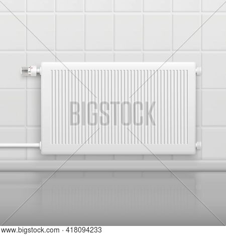 Hor Water Radiator Heating With Temperature Control Knob On Tiled Wall Side View Realistic Image Vec