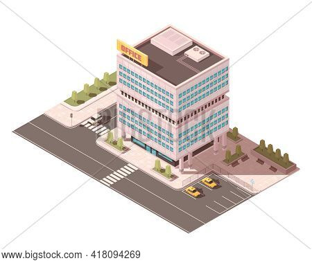 Office Building With Ventilation Equipment On Roof Road Infrastructure And Parking For Taxi Isometri