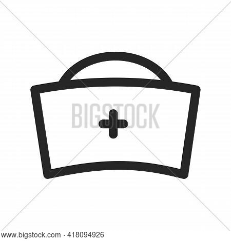 Nurse Hat Icon Vector Illustration. Doctor Female Medical Cap Uniform. Vector Thin Line Linear Illus
