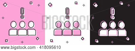 Set Crowd Protest Icon Isolated On Pink And White, Black Background. Demonstration. Vector