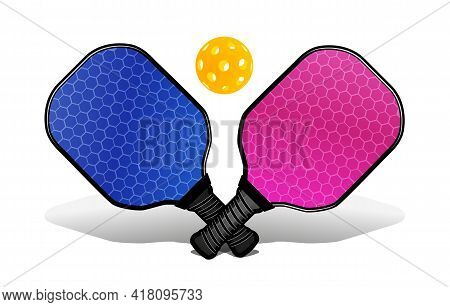 Pickleball With A Ball And A Rackets For Playing. Vector Illustration