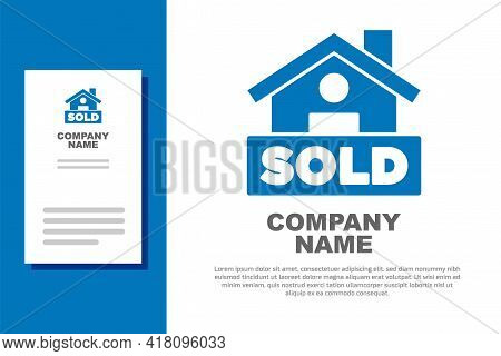Blue Hanging Sign With Text Sold Icon Isolated On White Background. Sold Sticker. Sold Signboard. Lo