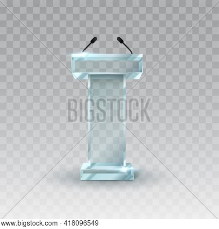 Glass Rostrum Speech Stand. Transparent Podium With A Microphone. Conference Stage. Vector Illustrat
