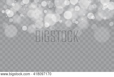Bokeh Lights Isolated. Transparent Blurred Shapes. Abstract Light Effect. Vector Illustration